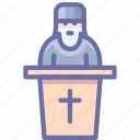 preaching, priest, religion icon