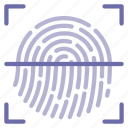 biometric, fingerprint, id, password, scan, security, touch icon