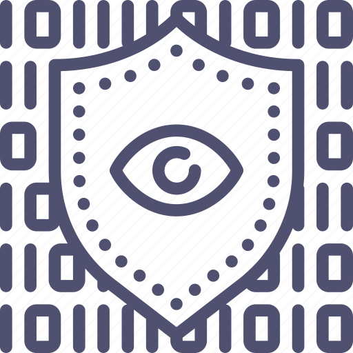 code, data, encryption, eye, private, protection, secure, security, shield icon
