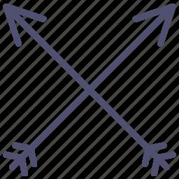 arrows, bow, logo, retro, sign icon