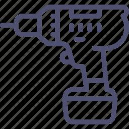 cordless, drill, screwdriver, tool icon