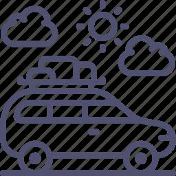 baggage, camping, car, transport, travel, vehicle icon