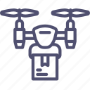 airdrone, copter, delivery, drone, flying, package, quadcopter icon