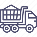 bulk, construction, gravel, sand, transport, truck, unit, vehicle icon