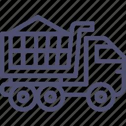 bulk, construction, gravel, sand, transport, truck, unit, vehicle icon
