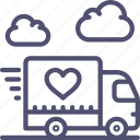 cargo, delivery, happy, logistics, lorry, love, shipping, transport, truck, vehicle icon