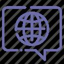 bubble, chat, global, language