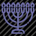 candle, hebrew, lampstand, menorah