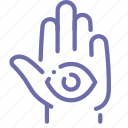 eye, hamsa, hand, religion icon