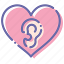 ears, loving, love, heart icon