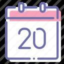 calendar, date, day, twentieth icon
