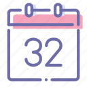 calendar, day, second, thirty icon