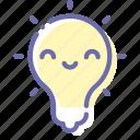 happy, idea, insight, kawaii, lamp icon