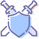 defend, defense, shield, swords icon