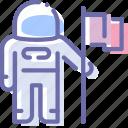 astronaut, cosmonaut, flag, space