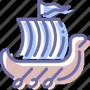 rowing, shallop, ship, viking icon