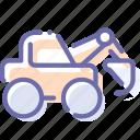 construction, digger, excavator, industrial icon