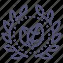 award, badge, bio, eco, green, leaf, wreath icon
