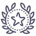 award, favorite, star, top, wreath icon