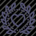award, badge, heart, love icon