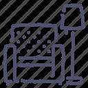 chair, furniture, interior, lamp, rest icon