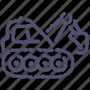 caterpillar, digger, equipment, excavator icon
