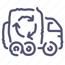 garbage, recycle, trash, truck icon