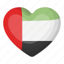 arab emirates, flag, heart, national