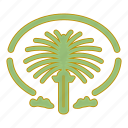 arab emirates, gotel, island, palm icon