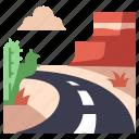 america, cactus, desert, road, usa icon