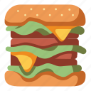 hamburger, cheese, meat, food, burger, meal icon
