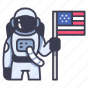 astronaut, flag, space, spaceman, spacesuit, usa