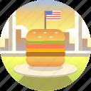 burger, cheeseburger, fast food, gourmet, hamburger, lunch, usa icon