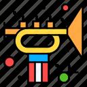 trumpet, music, instrument, horn, flag