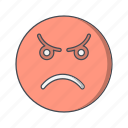 angry, emoticon, face icon