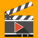 action, cinema, clapboard, clapper, film, movie, player icon