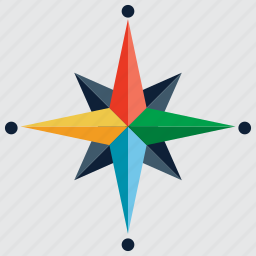 arrow, direction, navigation, north, space, star, travel icon