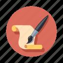 brush, document, paint, paper