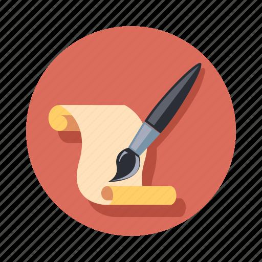 brush, document, paint, paper icon