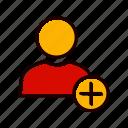 account, add, profile, user icon