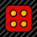casino, dice, four, game icon