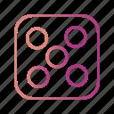 casino, dice, five, game icon