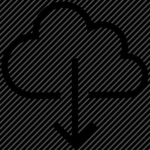 arrows, cloud computing, cloud download, cloud network, download icon