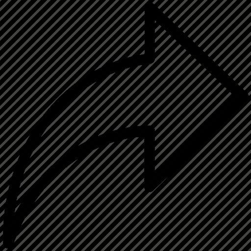 arrow, arrow sign, curve arrows, direction, movement, right icon