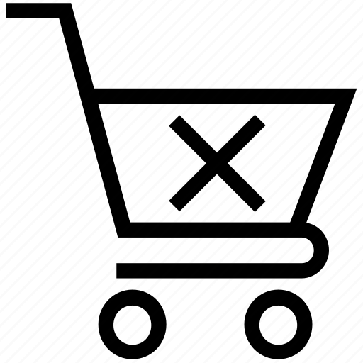 cancel cart, cancel shopping, cross sign on cart, shopping, shopping cart icon