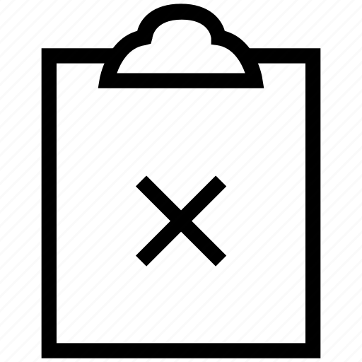 cancel paper, cancel sign with clipboard, clipboard, cross sign icon