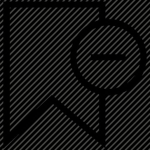 delete bookmark, delete favorite, riband, ribbon, ribbon for book icon