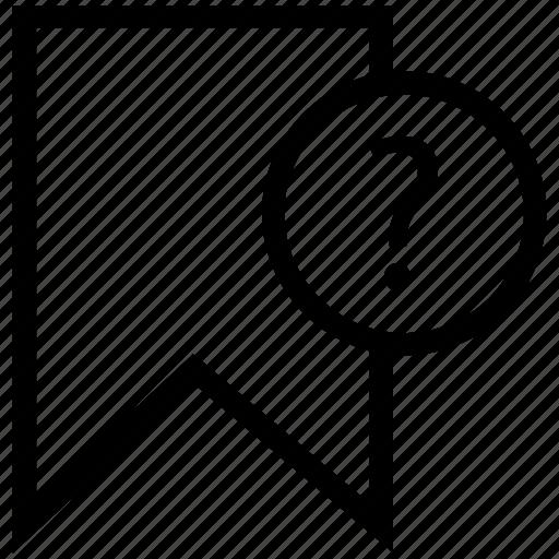 faq bookmark, favorite, question bookmark, ribbon, ribbon with mark icon