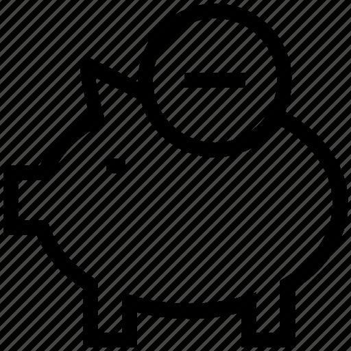 Minus money, minus sign, outstanding money, piggy, piggy bank, zero balance icon - Download on Iconfinder