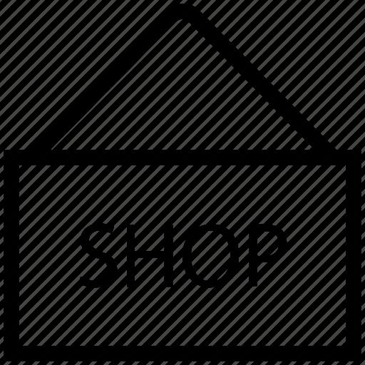hanging, hanging board, shop, shop board, shop label, shop sign icon